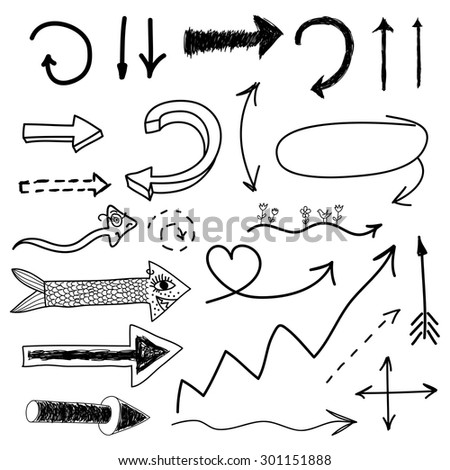 Hand drawn vector arrow collection isolated - stock vector