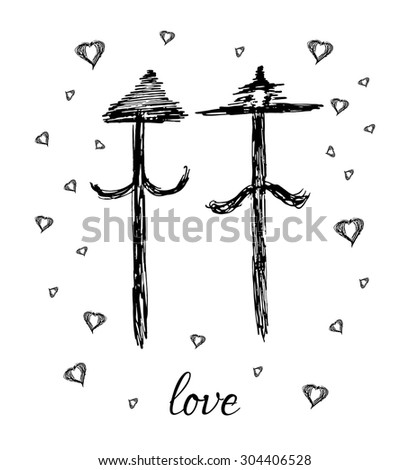 Hand drawn vector arrow love family gay on white background - stock vector