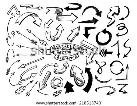 Hand drawn vector arrows - stock vector