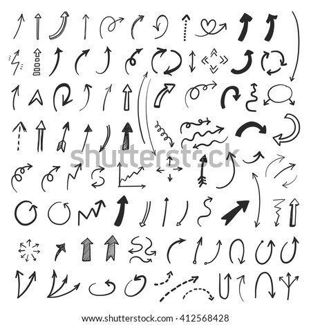 Hand drawn vector arrows set. Vector EPS. - stock vector