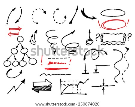Hand drawn vector arrows set. Vector illustration - stock vector