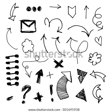 Hand drawn vector arrows, signs - stock vector