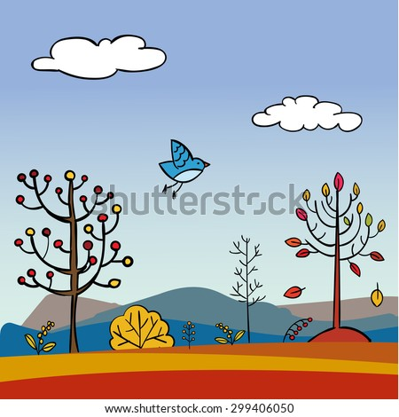 Hand drawn vector autumn landscape. Lovely colorful fall background with a meadow, trees, hills, sky, bird, falling leaves. Fully editable. - stock vector