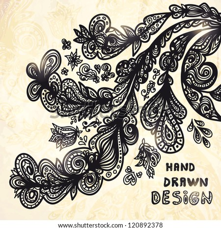 Hand Drawn vector background with different floral elements - stock vector