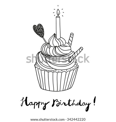 hand drawn vector birthday postcard with a cupcake - stock vector