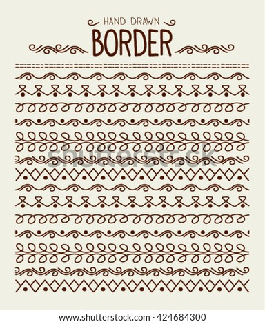 Hand drawn vector border set and scribble design element