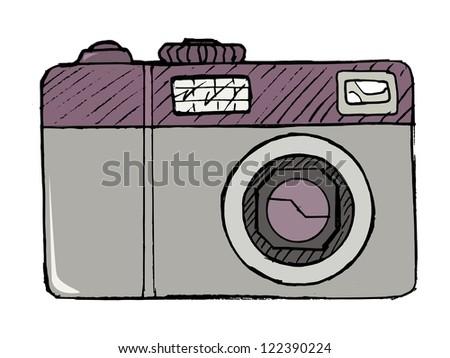 hand drawn, vector, cartoon illustration of digital photo camera - stock vector