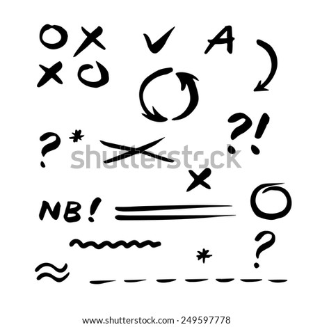 Hand drawn vector Check mark. Set of correction and highlight elements. Circles, ticks, cross signs, questions, NB etc. Hand drawn with marker pen. Vector illustration.  - stock vector
