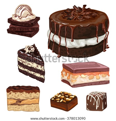 Hand Drawn Vector Chocolate Cakes