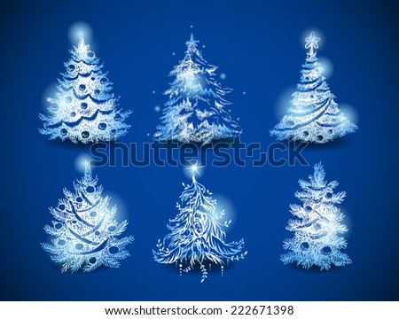 Hand-drawn vector christmas trees  - stock vector