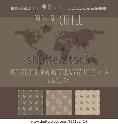 Hand drawn vector coffee infographics set. Vintage style. Alphabet and three pattern.