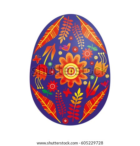 Hand drawn vector color painted Easter egg decorated with flowers. Happy easter design elements. Religious holiday illustration for poster.