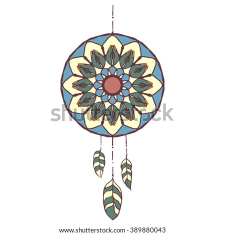 Hand drawn vector colorful dreamcatcher. Vector illustrations isolated on white. Boho style design elements. Tribal style design