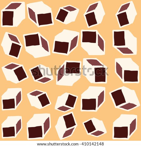 Hand drawn vector cube seamless pattern. Cute doodle modern geometric isolated elements.