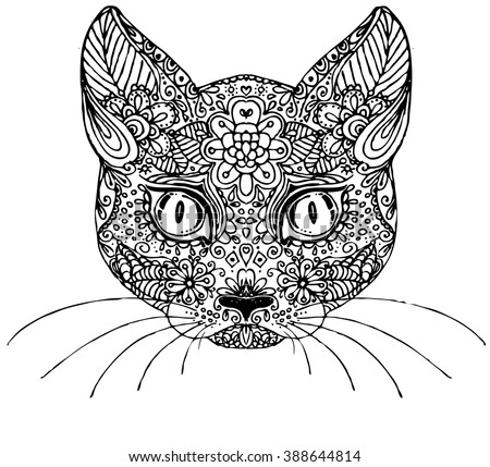 Hand drawn vector doodle cat. sketch for adult antistress coloring page, tattoo, poster, print, t-shirt, invitation, cards, banners, flyers, calendars - stock vector