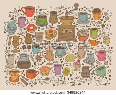 Hand drawn vector doodle set coffee - stock vector