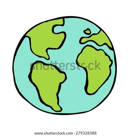 hand drawn vector earth - stock vector