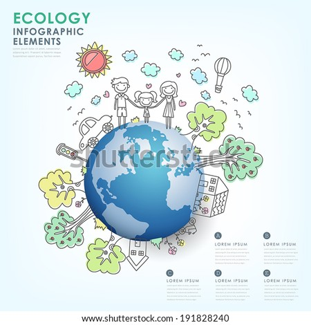 hand drawn vector ecology illustration infographic elements design - stock vector