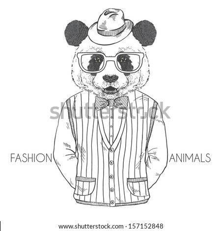 Hand Drawn Vector Fashion Illustration of Panda in Black and White, Retro Style - stock vector