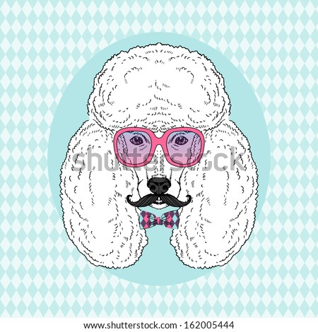 Hand Drawn Vector Fashion Portrait of Poodle in Pink Glasses, Mustache and Tie Bow - stock vector