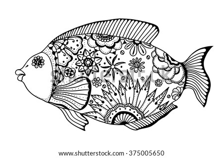 Hand drawn vector fish with floral elements in black and white doodle style. Pattern for coloring book