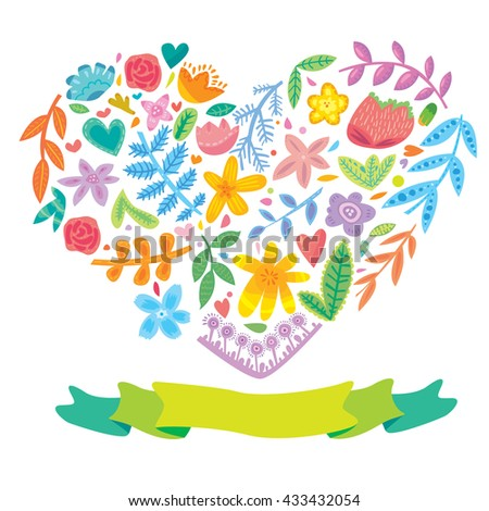 Hand drawn vector floral heart with flat ribbon label for your message - stock vector
