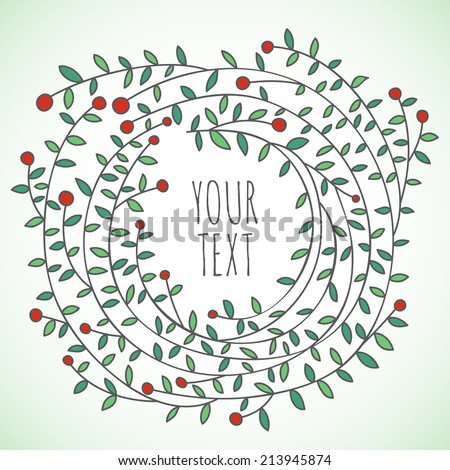 Hand drawn vector floral wreath card - stock vector