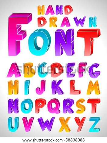 Hand drawn vector font. Letters. (Numbers see in portfolio)