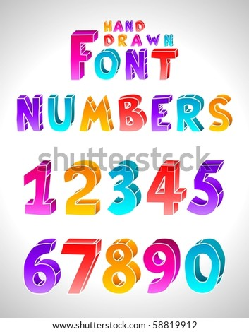 Hand drawn vector font. Numbers. (Letters see in portfolio) - stock vector