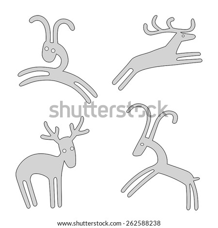 Hand drawn vector funny deers and goats - stock vector