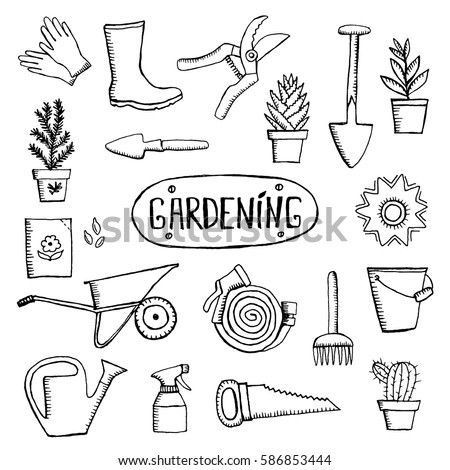 Vector seamless pattern hand drawn colored stock vector for Gardening tools used in planting crossword clue