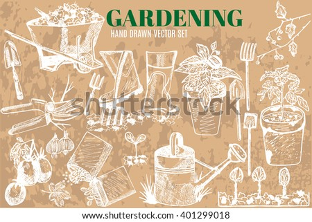 Hand drawn vector garden tools. Garden equipment: shovel, rake,seedlings, seeds, watering can, garden cart.Gardening, farming and agriculture sketch.
