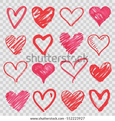 hand drawn vector hearts