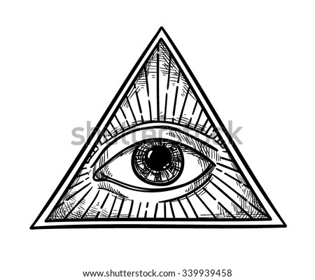 Hand drawn vector illustration - All seeing eye pyramid symbol. Freemason and spiritual. Vintage - stock vector