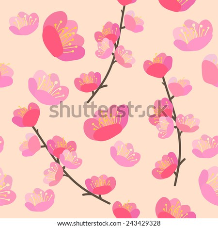 Hand drawn vector illustration. Cherry blossom seamless flowers pattern - stock vector