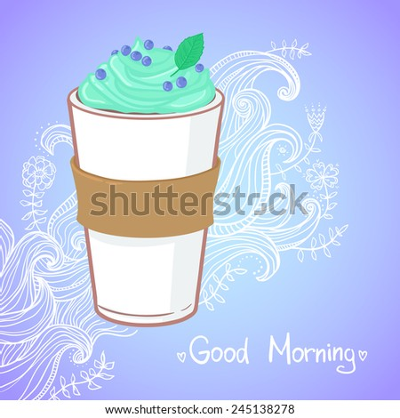 Hand drawn vector illustration - coffee drink with mint - stock vector