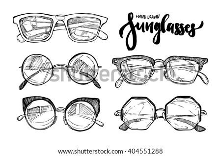 Hand drawn vector illustration - Fashion sunglasses. Vintage decorative  design elements.  - stock vector