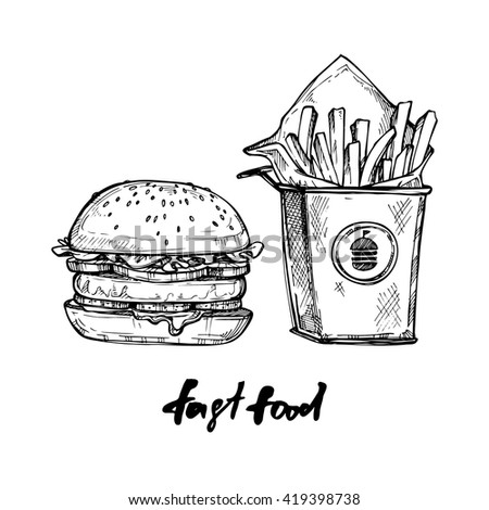 Hand drawn vector illustration - Fast food elements (hamburger, french fries).
