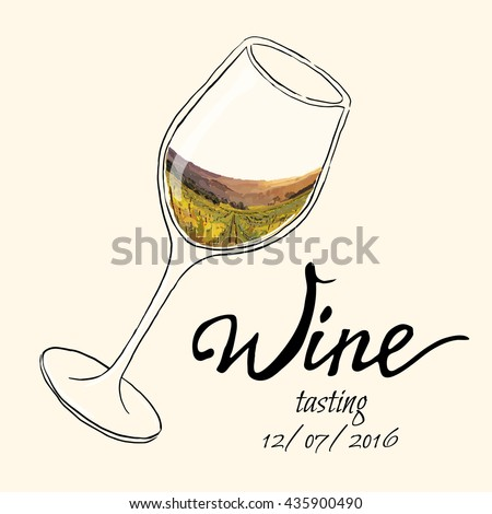 Hand drawn vector illustration  glass of wine with painting  grape valley. Each elementsl isolated and easy to use - stock vector