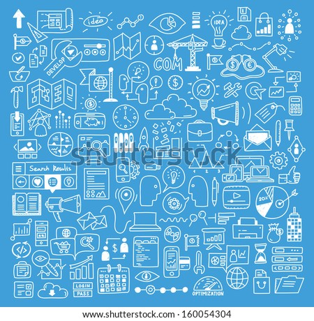 Hand drawn vector illustration icons set of business strategy, brainstorming and website development doodles elements. Isolated on bright blue background. - stock vector