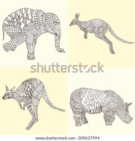 Hand drawn vector illustration: kangaroo, rhino and elephant  - stock vector