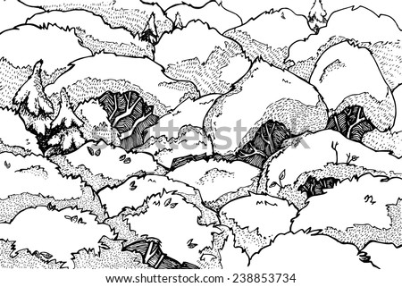 Hand drawn vector illustration. Magic forest. Line-art - stock vector