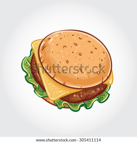 Hand drawn vector illustration of a Cheeseburger on white background. - stock vector