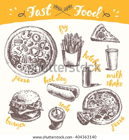 Hand drawn vector illustration of a fast food theme products on white background. Fry, pizza, burger, hot dog and more.  - stock vector
