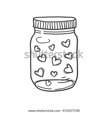 Hand drawn vector illustration of a mason jar filled with hearts, wedding and romance concept illustration isolated on white background - stock vector