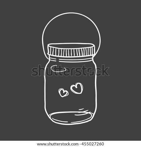 Hand drawn vector illustration of a mason jar with two hearts, wedding and romance concept illustration - stock vector
