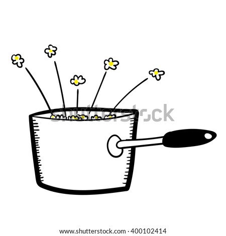 Hand drawn vector illustration of a saucepan full of freshly cooked and popping popcorn