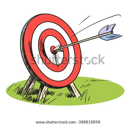 Hand drawn vector illustration of a target with an arrow. Concept target market, audience, group, consumer Target symbol. Success concept.Cartoon hand drawn target, isolated on white. - stock vector