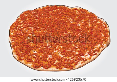"Hand drawn vector illustration of a traditional Turkish pizza ""Lahmacun""."