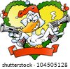 Hand-drawn Vector illustration of an angry christmas duck - stock vector